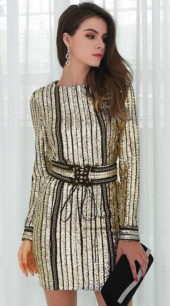 Belle Long Sleeve Sequin Dress Gold + Black Long