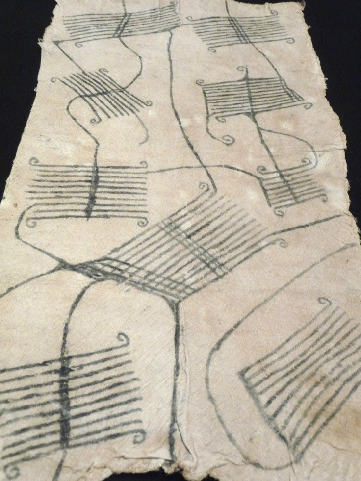 Africa |  Mbuti-Pygmy bark-cloth from DR Congo |  These pieces of fabric are made from hand beaten tree bark and then painted with natural dyes.  Originally they were used as lioncloth for ceremonies and dances.