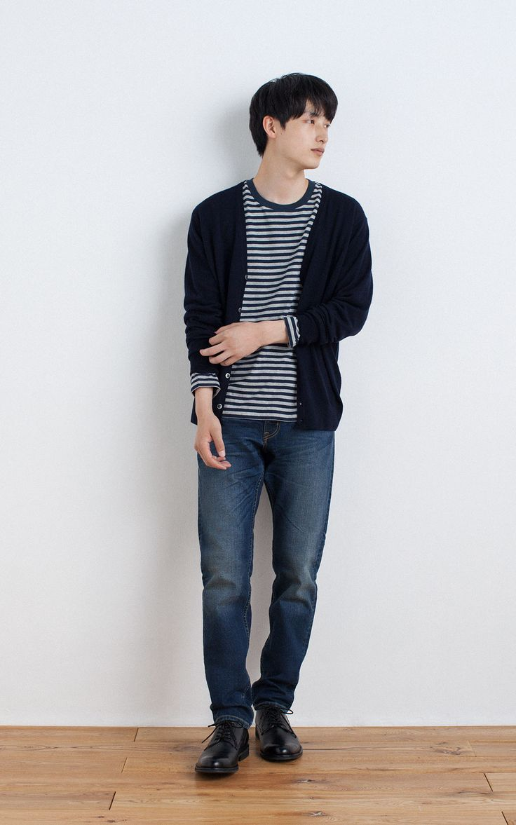 MUJI | WOOL SILK WASHABLE V NECK CARDIGAN | OGC BORDER CREW NECK L/S T SHIRT | ORGANIC DENIM TAPERED JEANS