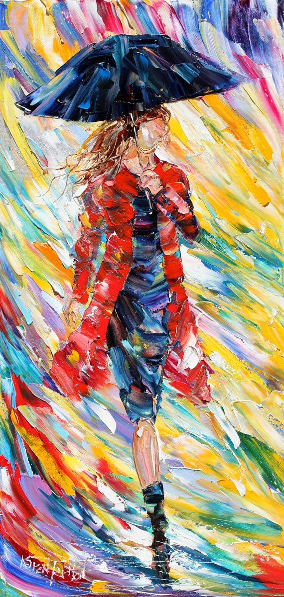 Rain Dance in Red oil on canvas Figurative palette knife painting modern texture fine art impressionism by Karen Tarlton