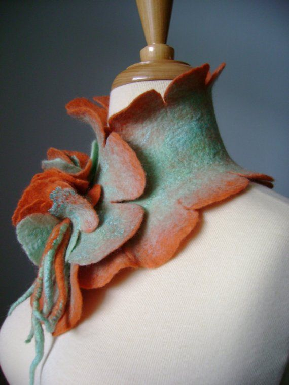 Silk wool felted scarf / collar ruffled от VitalTemptation
