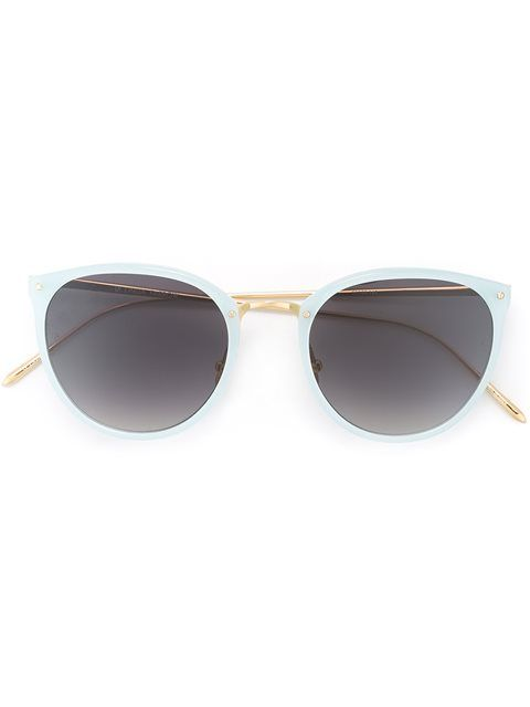 LINDA FARROW golden arm sunglasses. #lindafarrow #金色镜架太阳眼镜