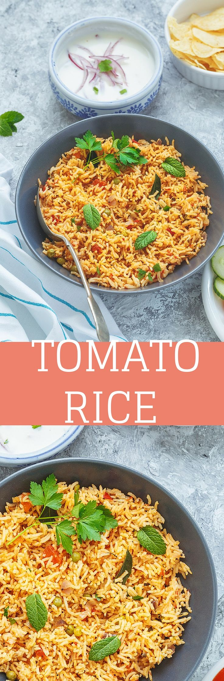 South Indian Tomato Rice is an easy One Pot Meal that does not require many special ingredients, yet they are palatable. Serve them with Potato Crisps, Salad and Raitha for a Hit Combination.