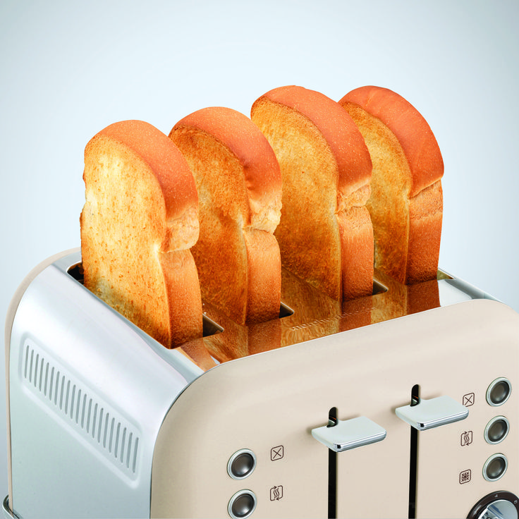 Special Edition Sand Accents 4 slice Toaster from Morphy Richards. Limited colour option made to celebrate our 80-year anniversary as a premium home appliance brand.