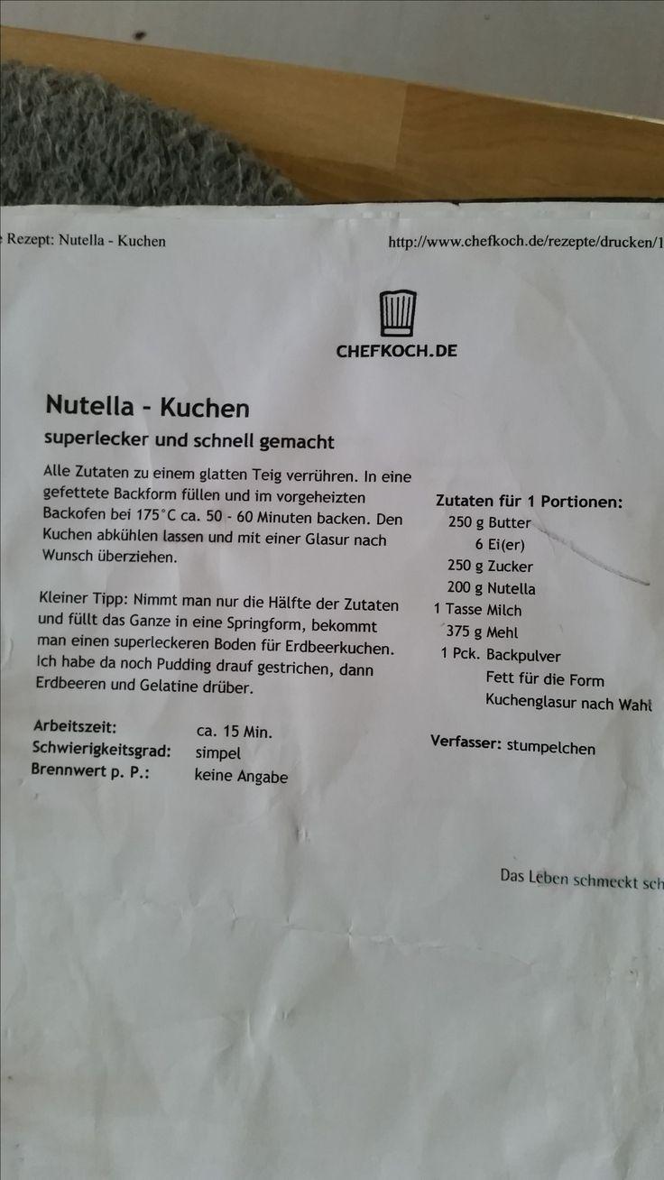 Rezept Nutella Kuchen