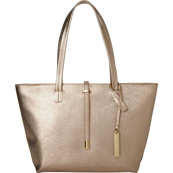 Vince Camuto Leila Small Tote - Pale Gold - Totes ($148) ❤ liked on Polyvore featuring bags, handbags, tote bags, metalic, gold tote bag, white handbags, tote purses, handbags totes and vince camuto purses