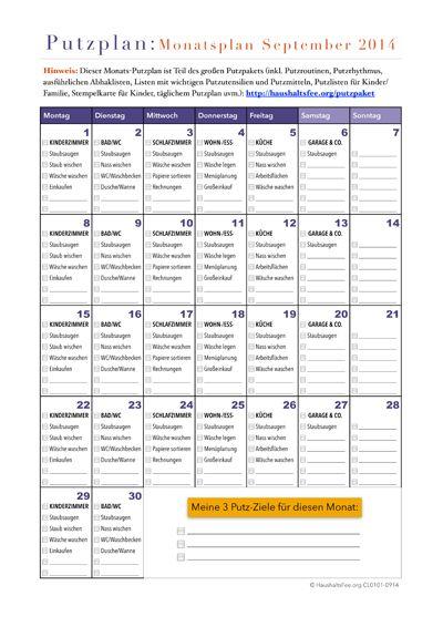 Monats-Putzplan jeden Monat neu (kostenloser Download)