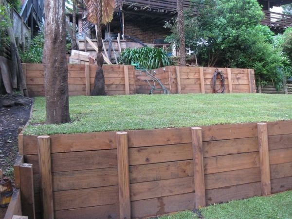 Wood retaining wall.