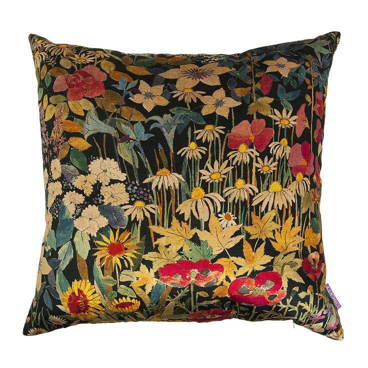 Bring eye-catching florals to the home with this Faria Flowers cushion from Liberty of London. Featuring a blanket of flowers in rich shades, this cushion has been made from vintage velvet fabric sour