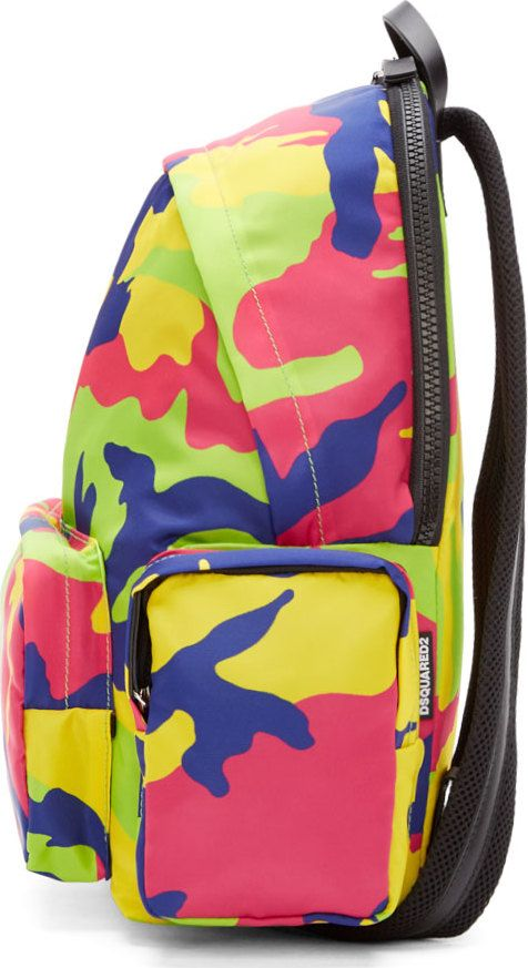 Dsquared2 Pink & Green Nylon Camo Backpack