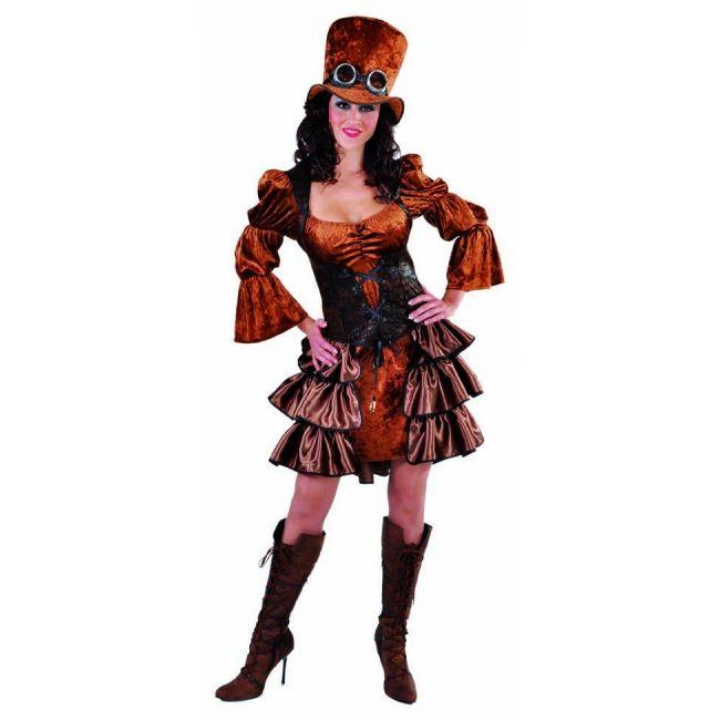 Steampunk jurk voor dames. Bruin kostuum voor dames in de stijl van het steampunk genre. Met pofmouwen en gelaagde rok. Exclusief hoed, deze is los verkrijgbaar in onze webshop.