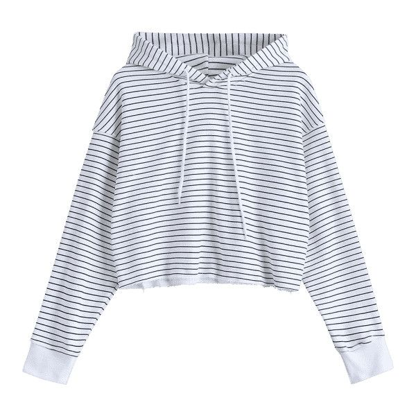 Cropped Frayed Stripes Hoodie Stripe S (1,825 INR) ❤ liked on Polyvore featuring tops, hoodies, striped hooded sweatshirt, hoodie top, crop top, striped crop tops and cropped hoodies
