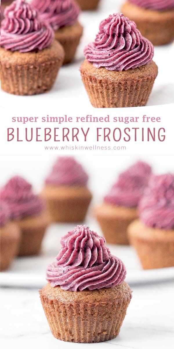 Jul 7, 2020 – SUPER SIMPLE BLUEBERRY FROSTING – free of refined sugars and whipped up in minutes #healthyfrosting #blueb…