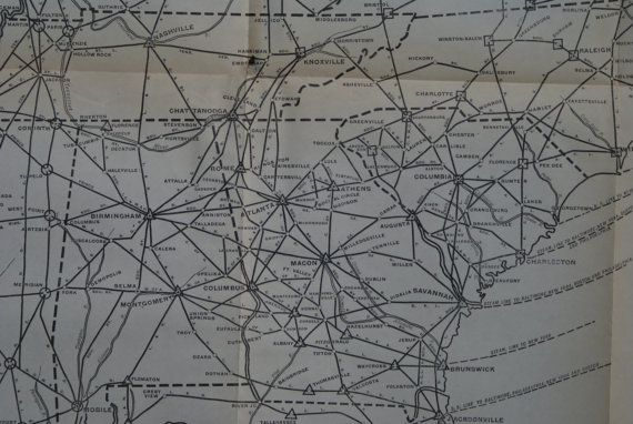 1924  Large Southeast Highway Map  Antique Road by TheWoodenEarth