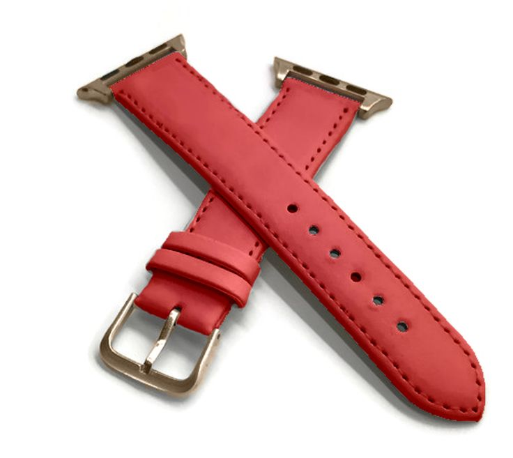 Fine Italian Leather Watch Band with coordinating buckle and connectors for 38mm Apple Watch with Gold Gift Box