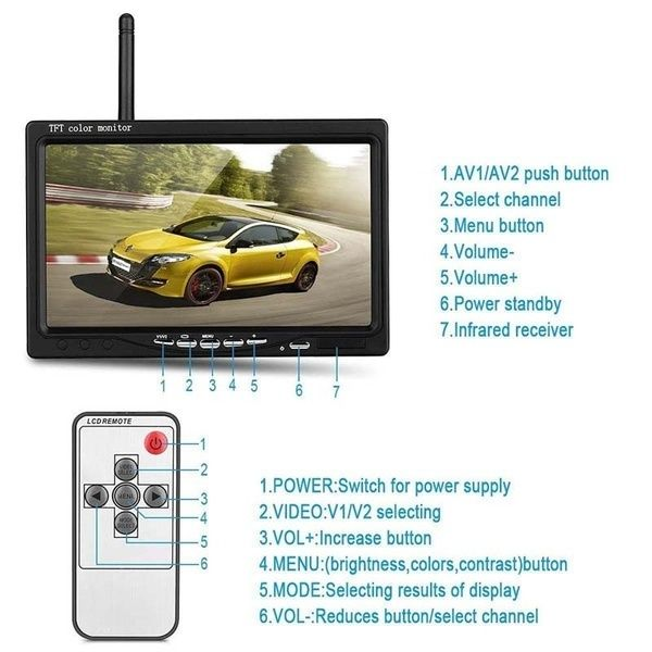 "Wireless Night Vision Rear View Backup Camera 5/"" TFT-LCD Monitor for Car Truck"