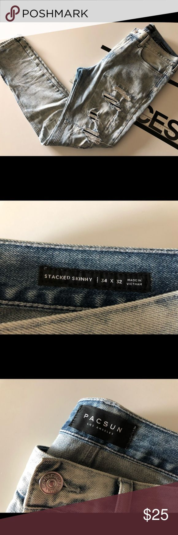 Mens Pacsun Stacked Skinny Acid Washed Jeans Lightly worn, still in excellent condition. Purchased from pacsun for 64.95. Pacific Sunwear Jeans Skinny