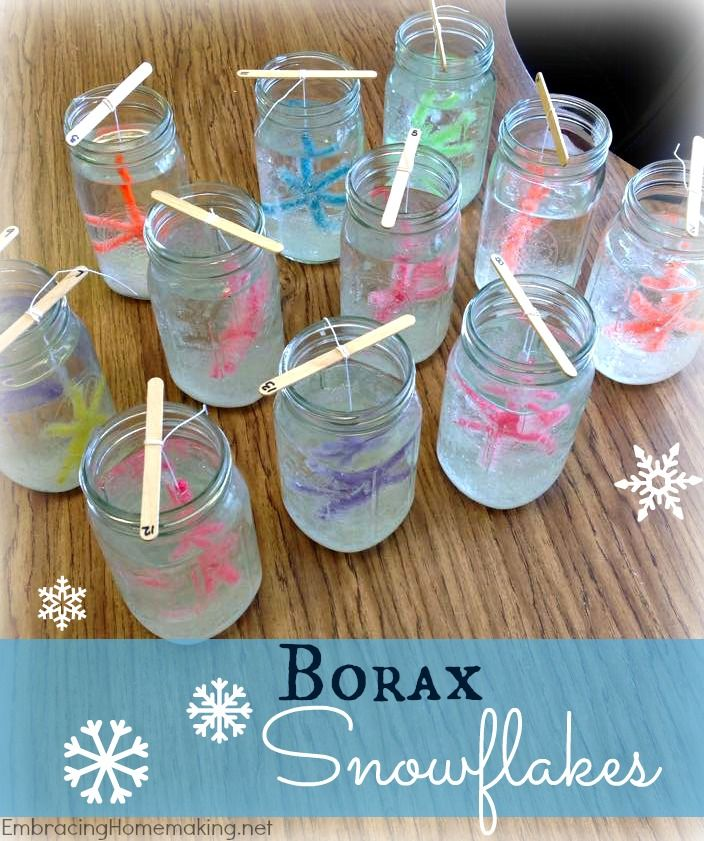 No snow where you live?  No problem!  I want to show you how you can make beautiful borax snowflakes at home.  Do you have boring old white snow lying around everywhere?  You can make snowflakes in…