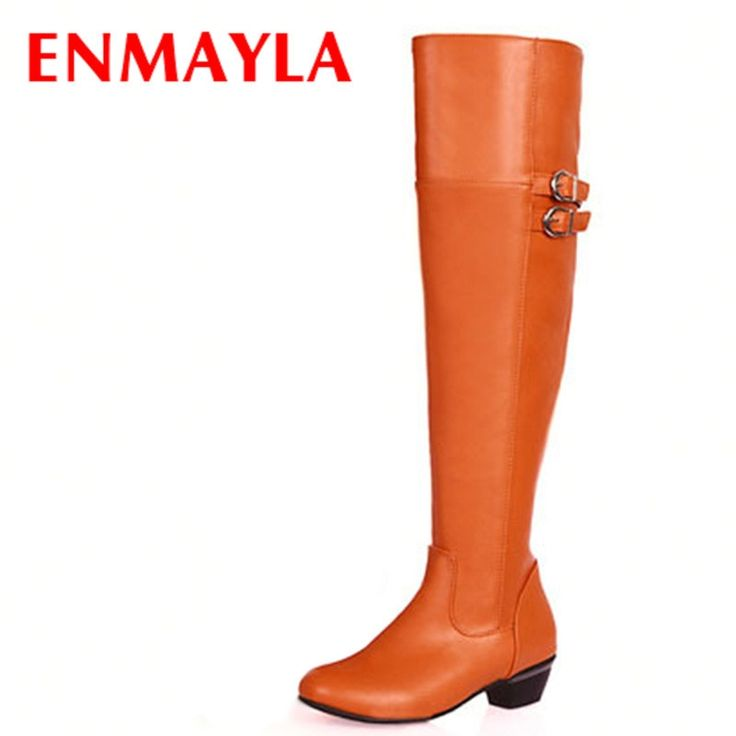 31.78$  Buy now - http://alibxh.shopchina.info/go.php?t=32277026870 - ENMAYLA Autumn Winter Spring Med Heels Buckle Knee High Boots Women Knight Boots White Black Brown Orange Travel Boots  #shopstyle