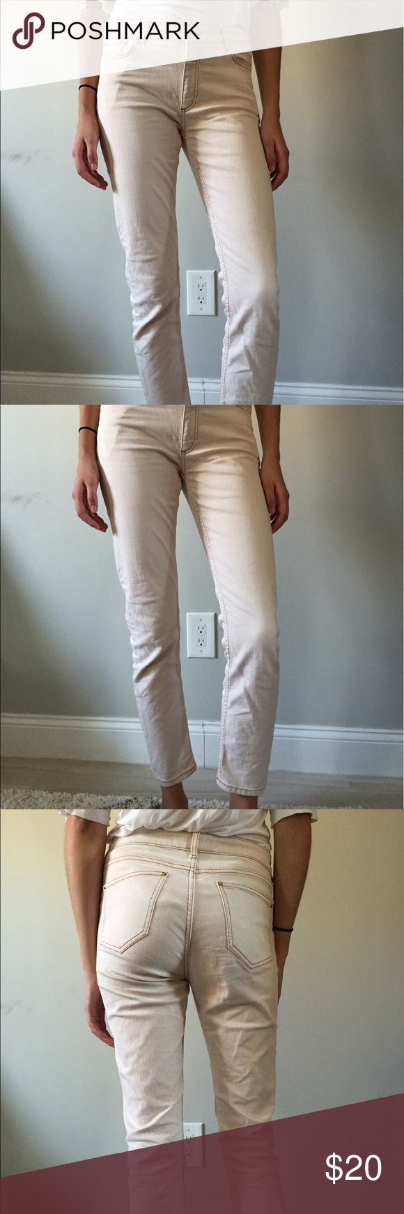 "Blush colored jeans - And Other Stories Barely worn jeans from And Other Stories in a beautiful blush color - peach/ faint pink, nearly beige. They were just a little too big on me :( They need a new home! Size 29, relaxed straight fit. 30"" inseam (cropped on me because I'm 5'10""). Accepting offers! And other stories Jeans Ankle & Cropped"