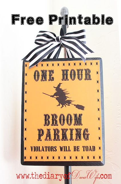 the Diary of DavesWife: Broom Parking { Free Printable}: Halloween Projects, Halloween Parties, Halloween Witch, Broom Parks, Fall Projects, Parks Free, Free Printable, Halloween Signs, Happy Halloween