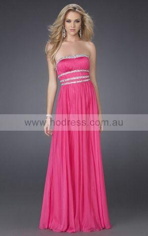 Sleeveless None Strapless Floor-length Chiffon Evening Dresses dt00337--Hodress