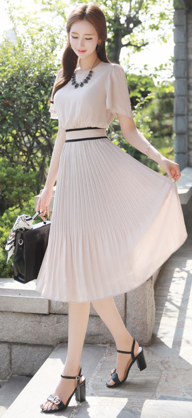 StyleOnme_Short Sleeve Pleated Long Dress #pleated #beige #elegant #dress #feminine #koreanfashion #kstyle #kfashion #springtrend #datelook