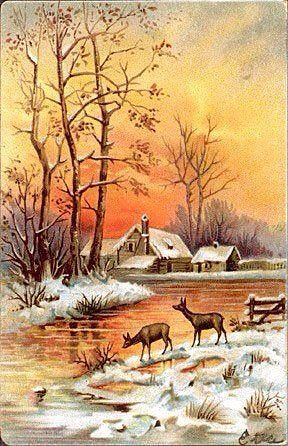 Der flammende orangefarbene Sonnenuntergang erstrahlt im frisch gefallenen Schnee ~ Vintag ... | Landschaften in 2019 | Vintage christmas cards, Christmas cards, Vintage landscape