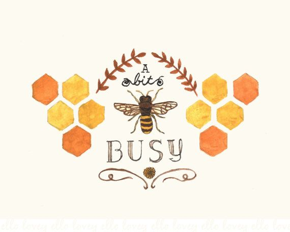 Busy Bee  5x7 Art Print by ellolovey on Etsy, $12.00