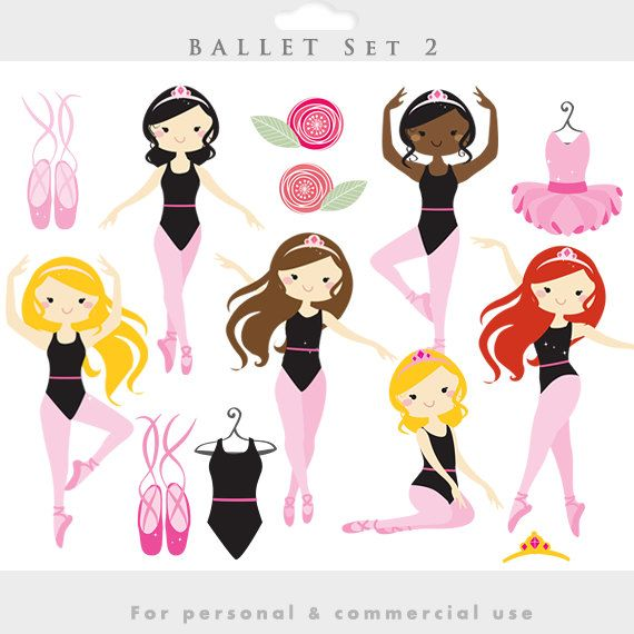 Ballerina clipart - ballerina clip art, girl ballet, dancing, dance, dresses, slippers, ballet shoes, girly, for personal and commercial use by WinchesterLambourne