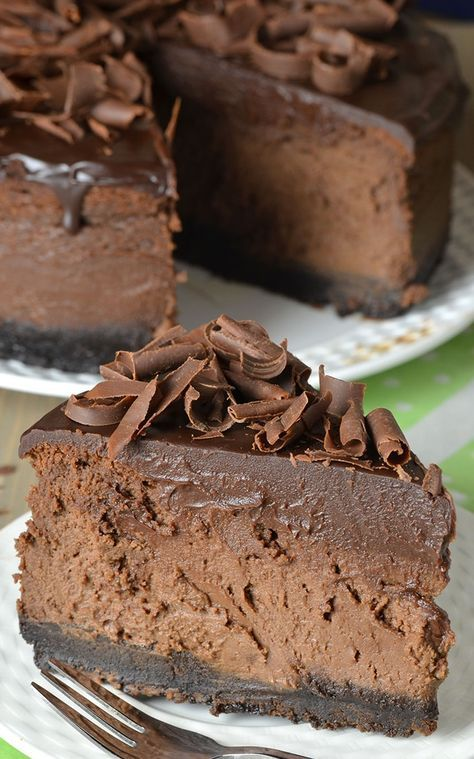 Here's for you the deliciously awesome Triple Chocolate Cheesecake With Oreo Crust. So just go and grab this recipe now!