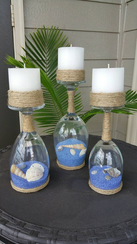 Seashell and Sand Wine Glass Candle Holders - upcycled wine glasses