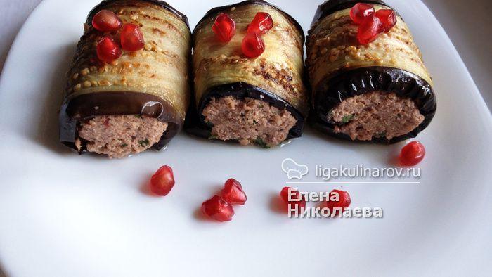 Главное фото рецепта: Рулетики из баклажанов с орехами по-грузински