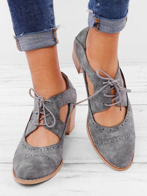 072dc25c6b Cutout Lace-up Low Heel Oxford Shoes Women Daily Loafers | Paper ...