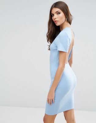 Облегающее платье-футболка мини с открытой спиной ASOS
