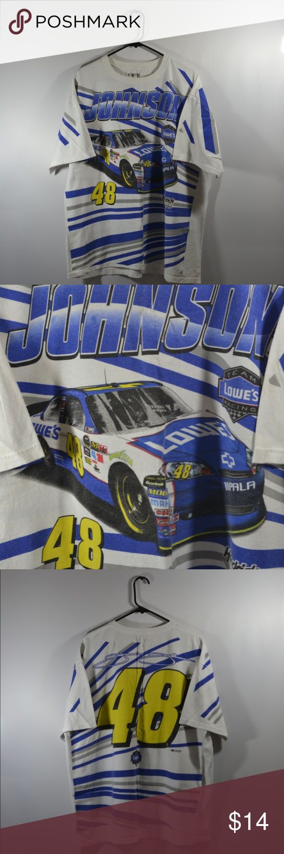 """NASCAR Jimmy Johnson #48 T Shirt NASCAR Jimmy Johnson #48 T Shirt, The shirt is faded from age. Measured in inches with t shirt laid flat. Chest:26"""",Length:28"""",Sleeve:8.5"""" Nascar Shirts Tees - Short Sleeve"""