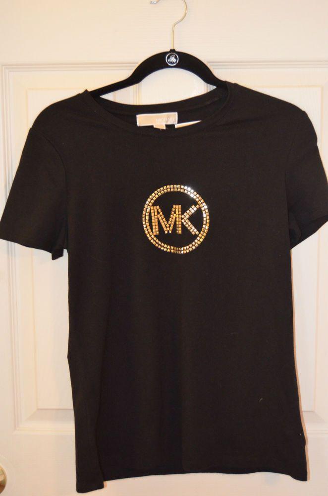 michael kors metallic logo t shirt black size medium brand. Black Bedroom Furniture Sets. Home Design Ideas