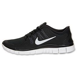 Womens Nike Free 5.0+ Running Shoes | FinishLine.com | Black/Dark Grey/White/Metallic Silver
