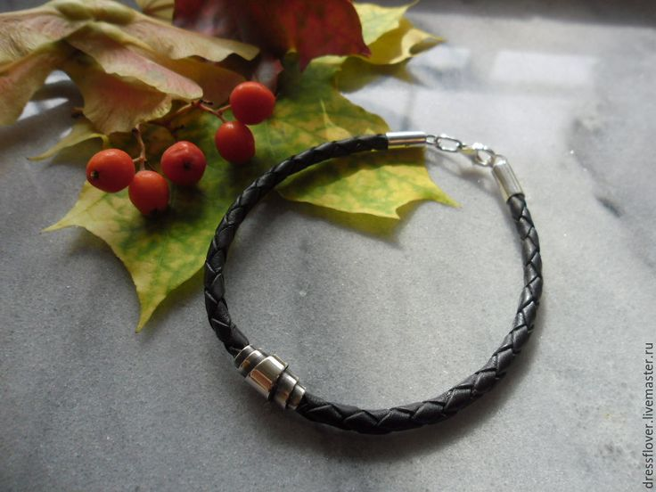 Купить браслет Плетёнка с серебряным замком - унисекс, черный, браслет из кожаного шнура, браслет с замком