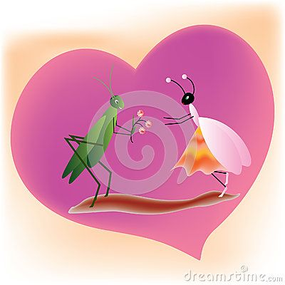 #cricket offering flowers to a #queen #ant on a purple #heart shape background