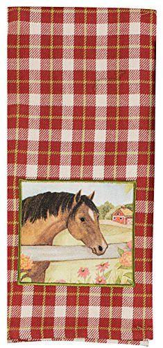 Kay Dee Designs Grace & Beauty Red Plaid Brown Horse Tea Towel