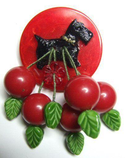 Vintage Bakelite cherries with Scottie dog brooch