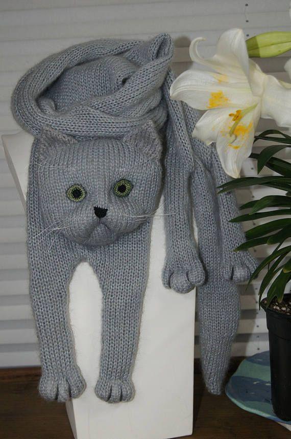 Bufanda de Animal de tejer bufanda gato azul ruso-gato amante