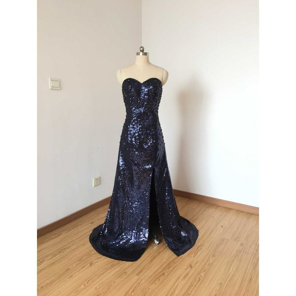 Sweetheart Navy Blue Sequin Long Prom Dress 2017 With Slit ($119) ❤ liked on Polyvore featuring dresses, grey, women's clothing, long grey dress, navy blue cocktail dresses, navy cocktail dress, long prom dresses and gray cocktail dress