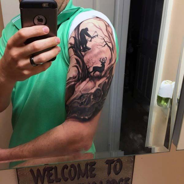 Half Sleeve Hunter In Woods With Deer Guys Archery Tattoo