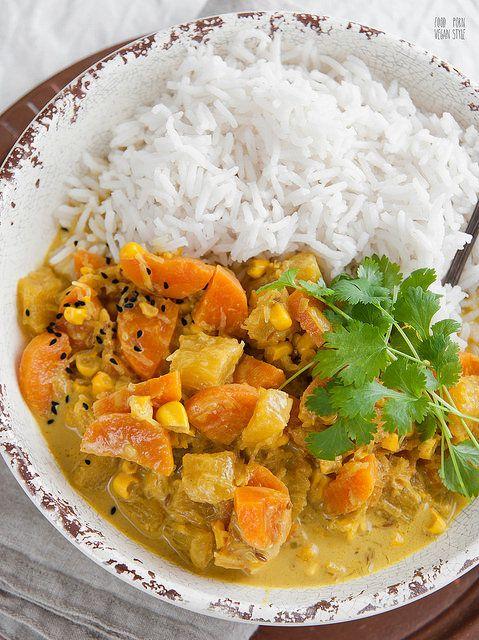 Vegan Korma, creamy curry with seasonal vegetables by foodpornveganstyle, via Flickr