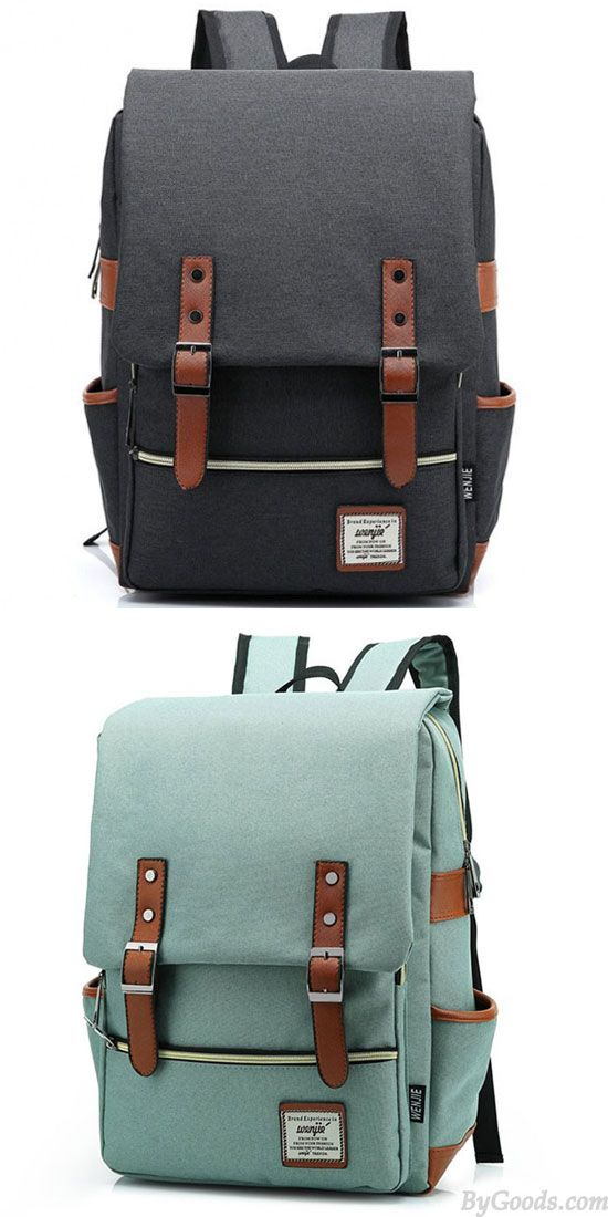 How can U want to find a nice school backpack? Vintage Travel Backpack Leisure Canvas With Leather Backpack&Schoolbag #backpack #school #Bag #college #student #canvas #cute