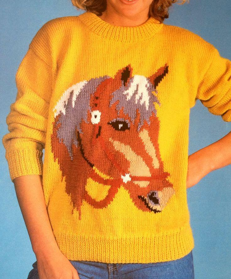 horse sweater knitting pattern for children women men by ECBcrafts