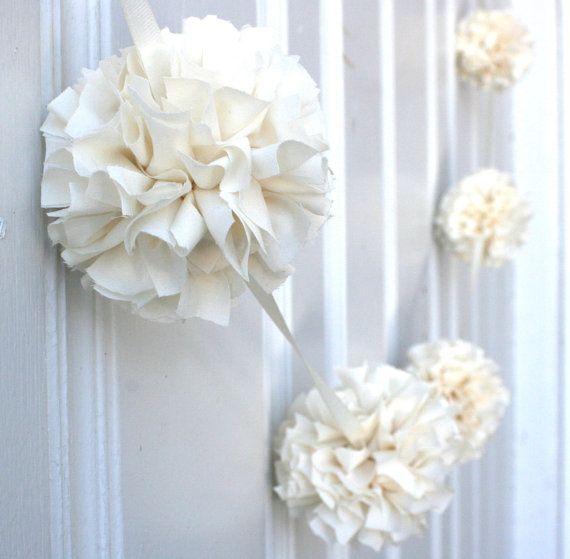 Wedding Garland - Baptism Decoration - Baby Decor - First Communion - Ivory Fabric Pom Pom Garland