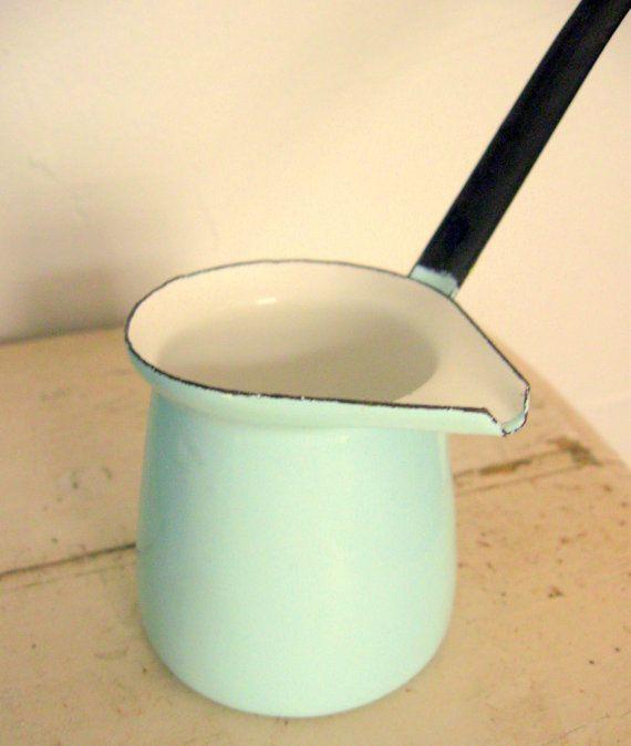 Retro Enamel Ware Aqua Blue Dipper Ladle Gravy Kitchen